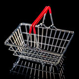 Concept of black friday advert sale empty metal shopping basket Royalty Free Stock Image