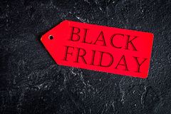 Concept black friday on dark background top view Stock Images