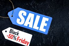 Concept black friday on dark background top view royalty free stock image