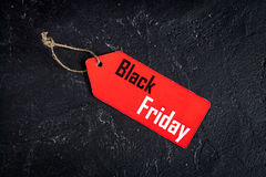 Concept black friday on dark background top view.  Royalty Free Stock Images