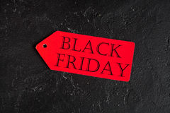 Concept black friday on dark background top view.  Stock Photo