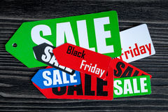 Concept black friday on dark wooden background top view.  Stock Photography