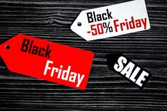 Concept black friday on dark wooden background top view Royalty Free Stock Image