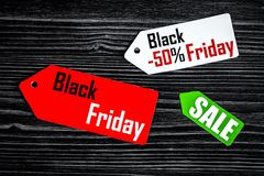Concept black friday on dark wooden background top view Stock Image