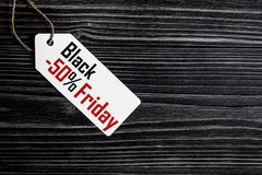 Concept black friday on dark wooden background top view.  Stock Photo