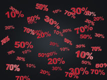 The concept of the black Friday, discount and sale. Collection of discount numbers 10% 20% 30% 50% 70%. Stock Photography
