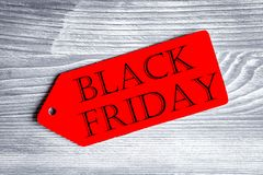 Concept black friday on wooden background top view Royalty Free Stock Images