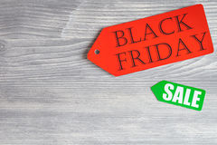 Concept black friday on wooden background top view.  Royalty Free Stock Image