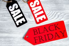 Concept black friday on wooden background top view Royalty Free Stock Photos