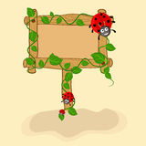 Concept of blank board with ladybug. Royalty Free Stock Images