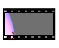 Concept blank film strip frame. And fly isolated on white Stock Image