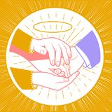 Concept of the blessing. Of the newlyweds in the form of mother hands that bless the hands of the newlyweds. Icon in the linear style Stock Photography