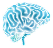 Concept bleu rougeoyant de cerveau Photos libres de droits