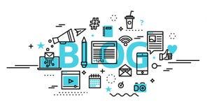 Concept of blog, online news and blogging vector illustration