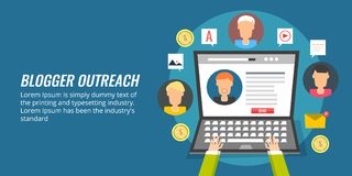 Blogger outreach, influencer marketing, social media promotion. Flat design concept. Concept of blogger outreach, person contacting other bloggers for content Stock Photography