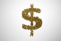Concept of bloody money. Dollar sign made of riffle bullets. On white background Stock Images