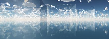 Concept blue fantasy cloudy sky 3d illustration Royalty Free Stock Photos