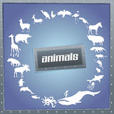 Concept blue poster for boys with animals Stock Photography