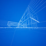Concept blueprint on blue Royalty Free Stock Images