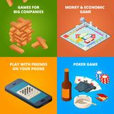 Concept of board games. Checkers, chess and other games royalty free illustration