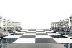 Concept of board games, chess fights isolated on white background, 3d rendering Royalty Free Stock Photography