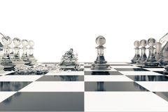 Concept of board games, chess fights isolated on white background, 3d rendering Stock Photography