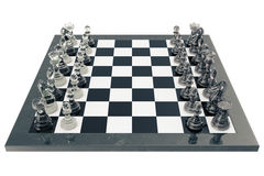 Concept of board games, chess fights isolated on white background, 3d rendering Stock Images