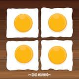 Concept bonjour oeuf de poulet frit de petit déjeuner avec un jaune orange illustration libre de droits