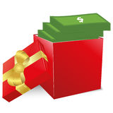 Concept of bonus. Red box with gold bow full of money. Royalty Free Stock Image