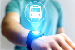Concept of booking bus ticket online Stock Photos