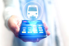 Concept of booking bus ticket online Royalty Free Stock Image