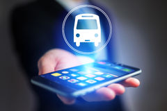 Concept of booking bus ticket online Royalty Free Stock Images