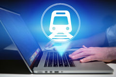 Concept of booking online train ticket - Travel concept Stock Photos