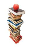 Concept with books and apple. Back to school concept with books and apple Royalty Free Stock Images
