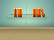 Concept of books on glass shelf. Stock Images