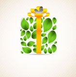 Concept with box and leaves. Concept with white box and green leaves Royalty Free Stock Image