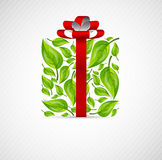 Concept box with leaves. And red ribbon Royalty Free Stock Photos