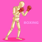 Concept of Boxing with wooden human mannequin Royalty Free Stock Image