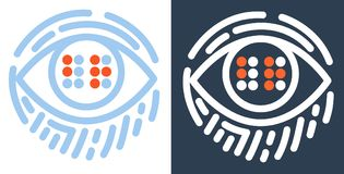 Concept Braille  for the education. Concept for the education of the blind, in the form of an eye with the text Braille and a fingerprint. icon in the linear Royalty Free Stock Photography