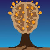 Concept of brain as a tree with bulbs as solutions. To problems. Concept of using brain to create great ideas to solve human problems Royalty Free Stock Photo