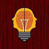 Concept of brain with bulb as a solution to proble Royalty Free Stock Photos