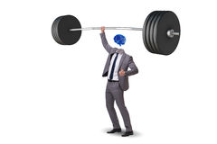 The concept with brain man and dumbbell Royalty Free Stock Image
