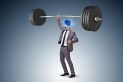 The concept with brain man and dumbbell. Concept with brain man and dumbbell royalty free stock image