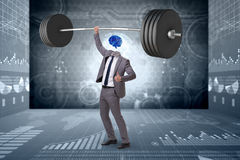 The concept with brain man and dumbbell. Concept with brain man and dumbbell royalty free stock photography