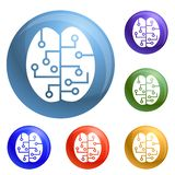 Concept brain smart icons set vector royalty free illustration