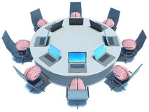 Concept of brainstorm. Circle table, brain and armchairs Royalty Free Stock Images