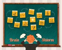 Concept Brainstorm. Man and Blackboard Royalty Free Stock Image