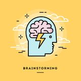 Concept of brainstorming, line flat design banner. Vector illustration vector illustration