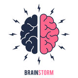 Concept  brainstorming sign. Concept of the thinking process, brainstorming, good idea, brain activity, insight. Flat line vector icon illustration design for Stock Photos