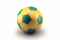 Concept for Brazil 2014 football championship. Soccer ball with Brazil flag on isolated on white background Stock Photos